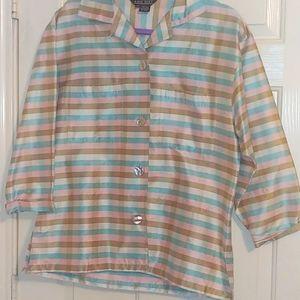 Vtg Ann May 90s Button Up Silk Blazer Jacket